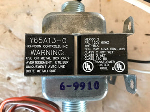 JOHNSON CONTROLS Y65A13-0  CLASS 2 TRANSFORMER- 120 VAC, 60 HZ Primary