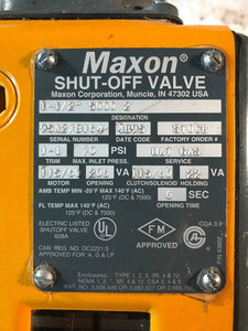 MAXON 1-1/2'' 5000 2 SHUT OFF VALVE NAT GAS