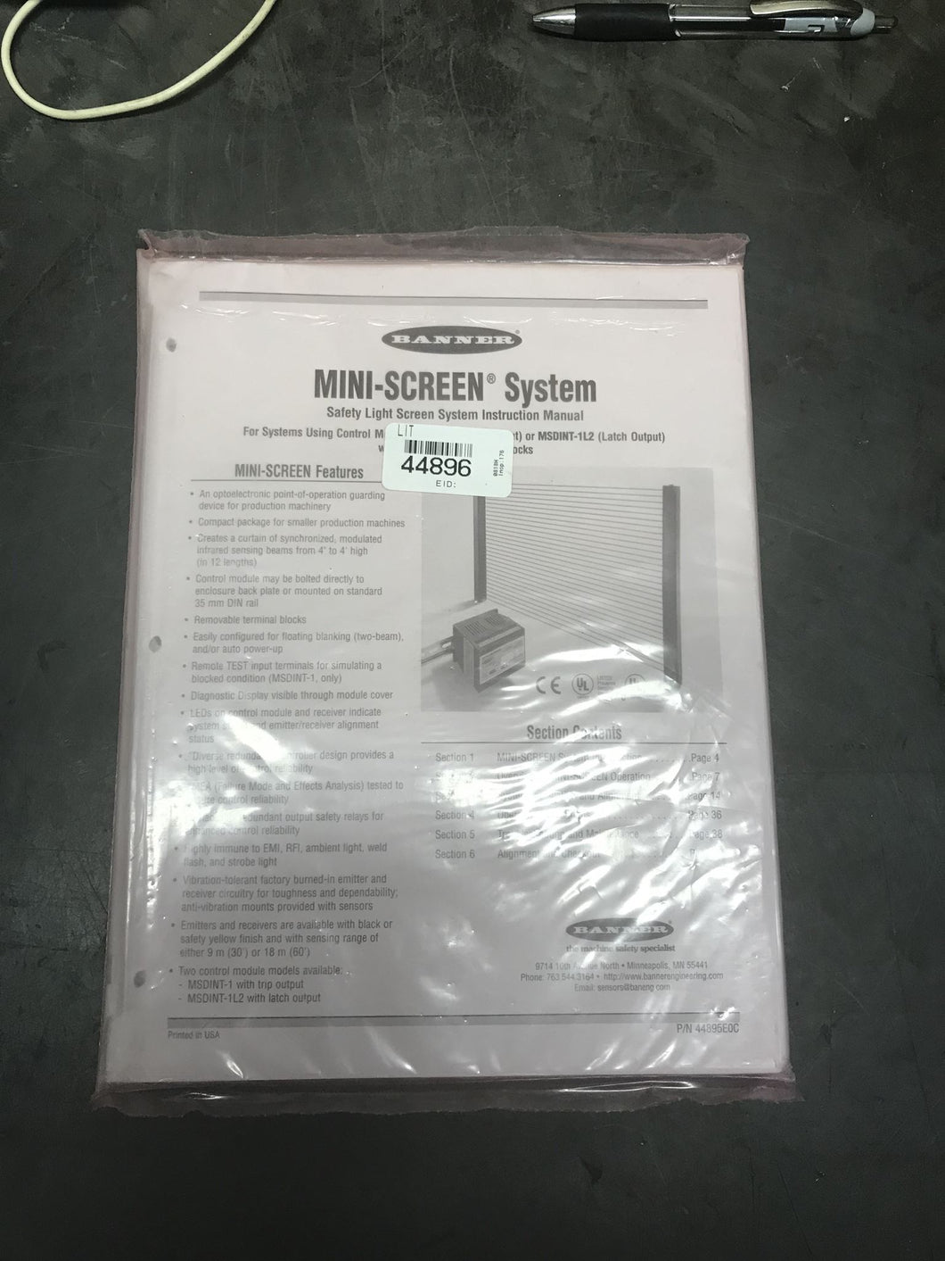 Banner 44895e0c Manual for mini-screen system