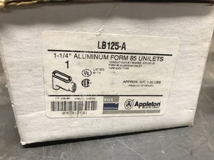 "Appleton LB125-A Form 85 1-1/4"" Aluminum Conduit Body"
