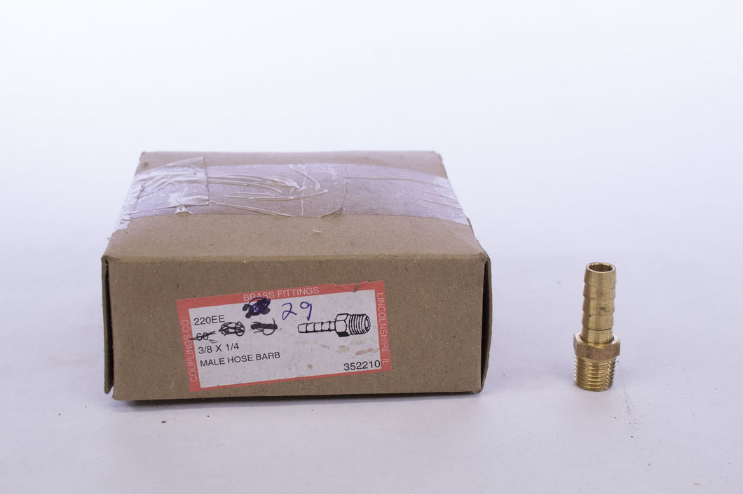 Brass Fitting Male Hose Barb 3/8 x 1/4 220EE - box of 29
