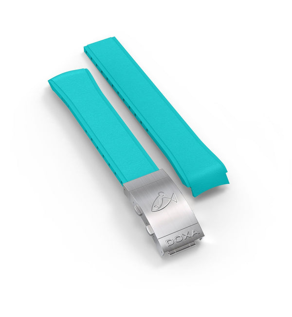 Rubber strap with folding clasp, Turquoise - DOXA Watches US