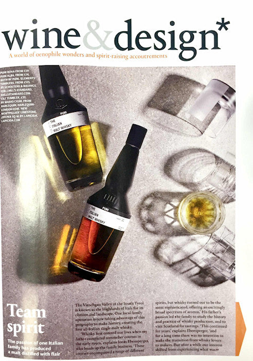 J Hill's Standard crystal used on the cover of wine&design magazine