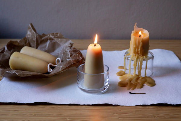 Pair of Beeswax Stumpy Candles