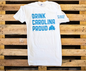 Drink Carolina Proud T-Shirt- White/Light Blue