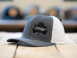NEW! Sycamore Brewing Offset Trucker Hat- Grey/White