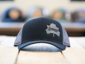 NEW! Sycamore Brewing Offset Trucker Hat- Black/Grey