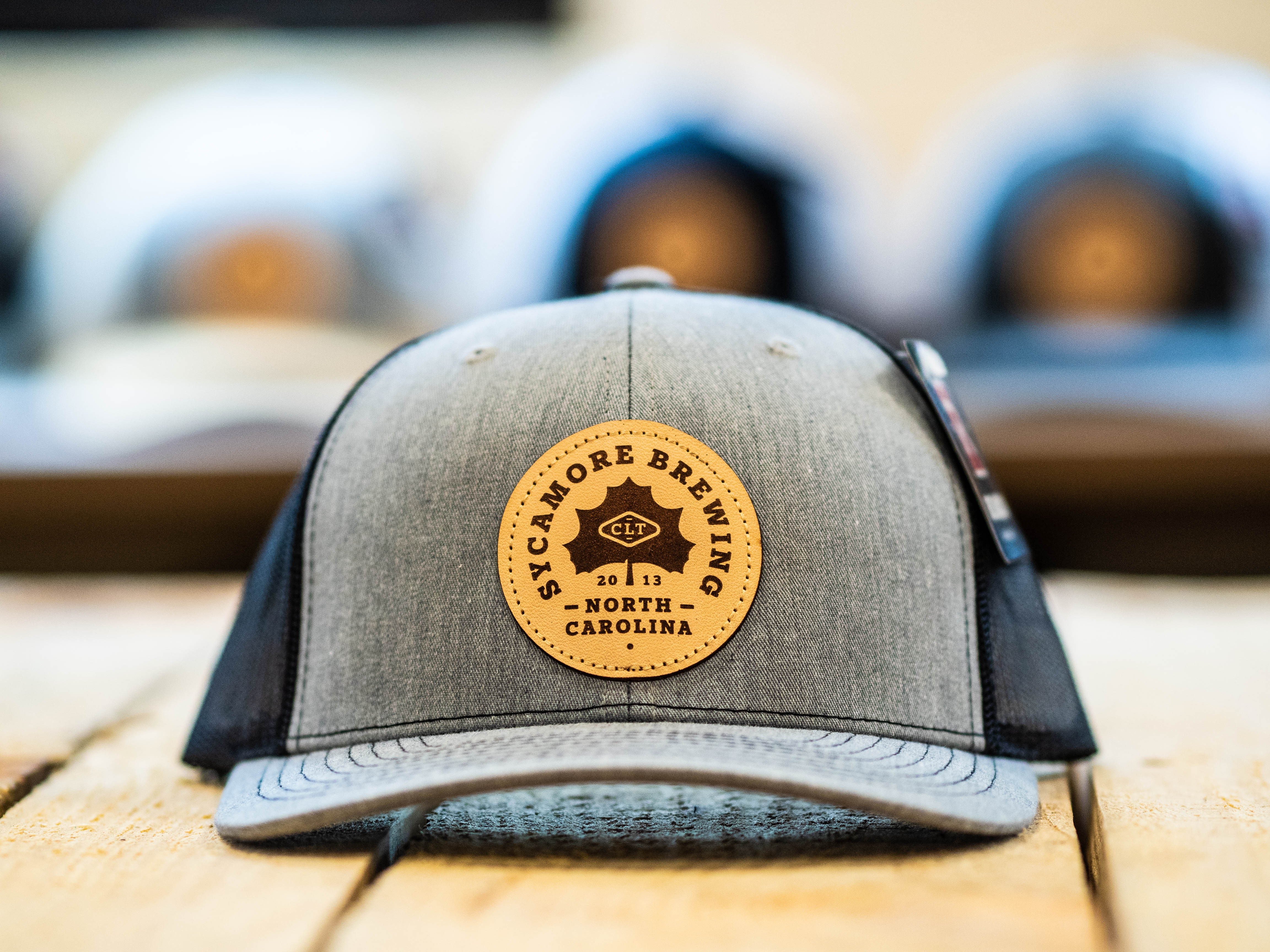 NEW! Sycamore Brewing Circle Patch Trucker Hat- Heather/Black
