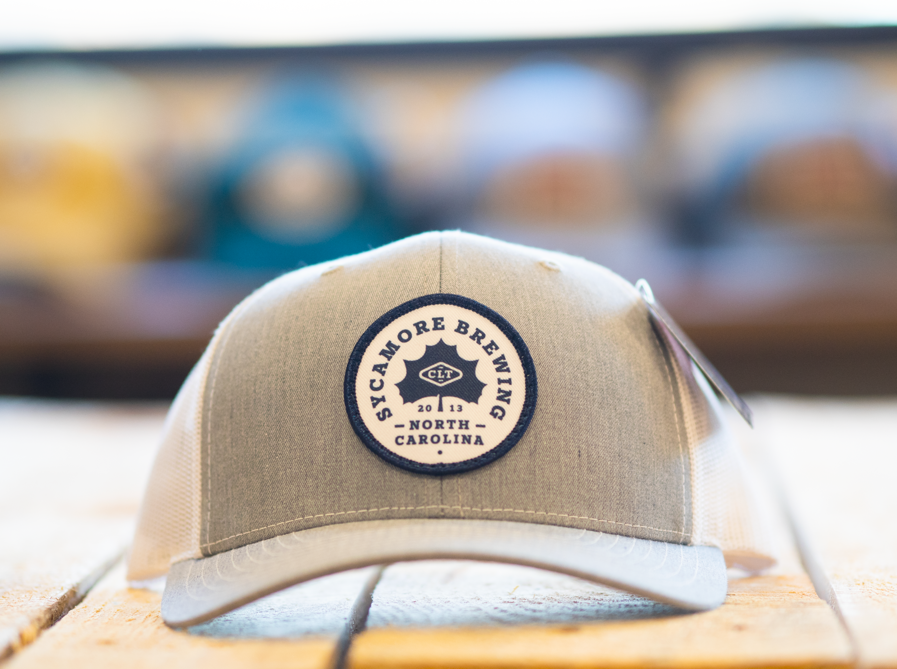 NEW! Sycamore Brewing Circle Patch Trucker Hat- Light Grey/White