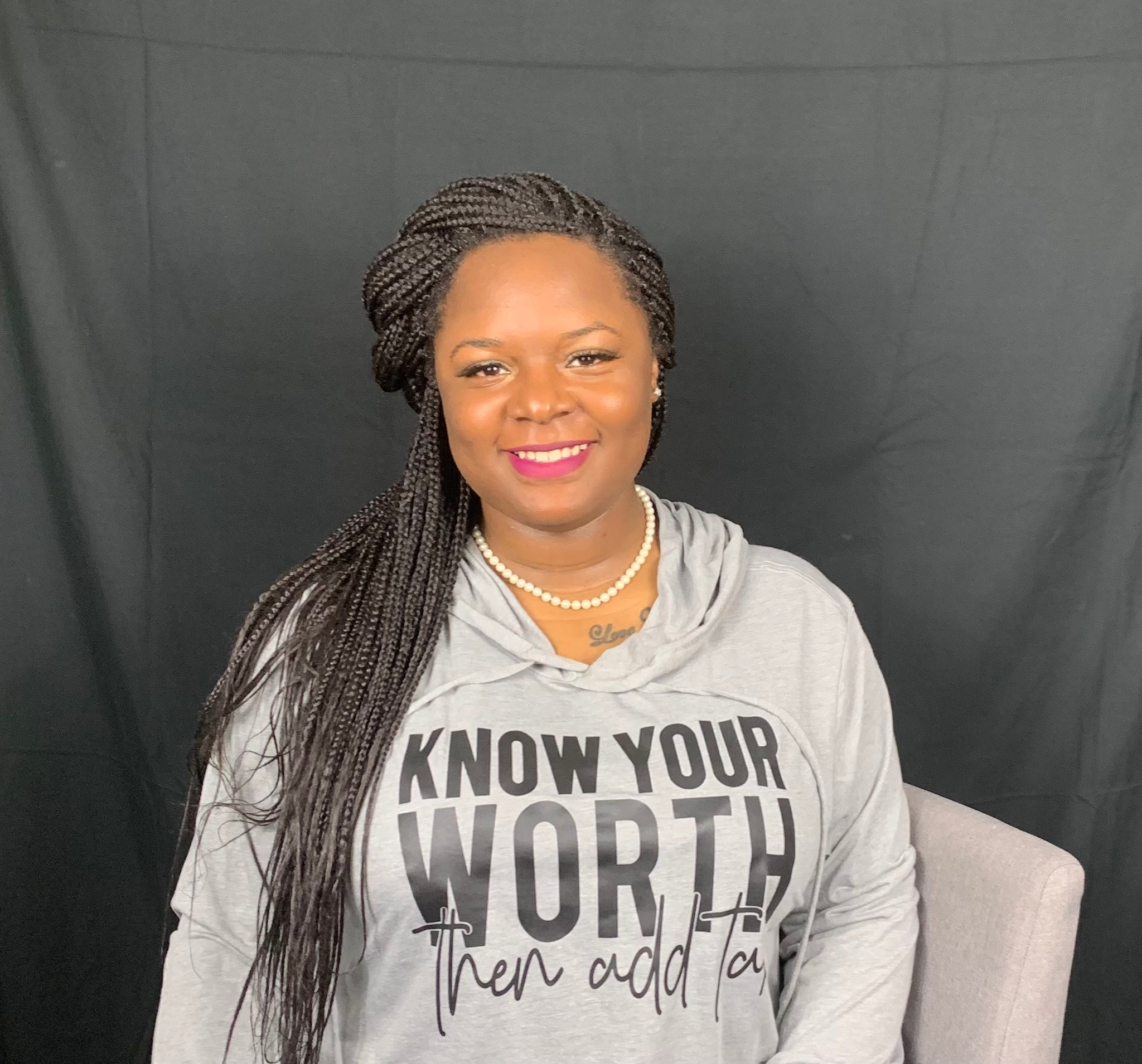 Know Your Worth Then Add Tax Cropped Hoodie