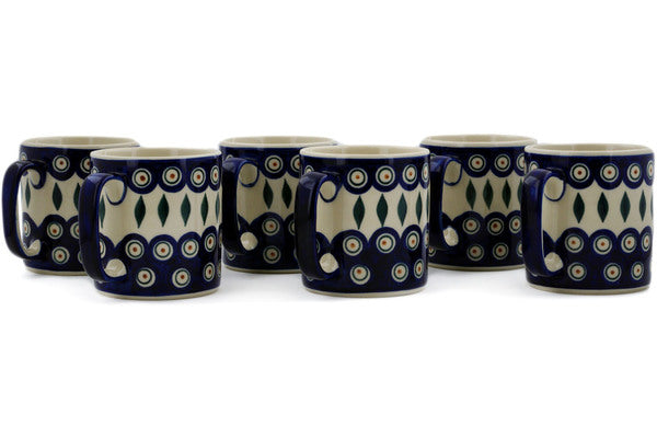 mug set of 6 Peacock Theme