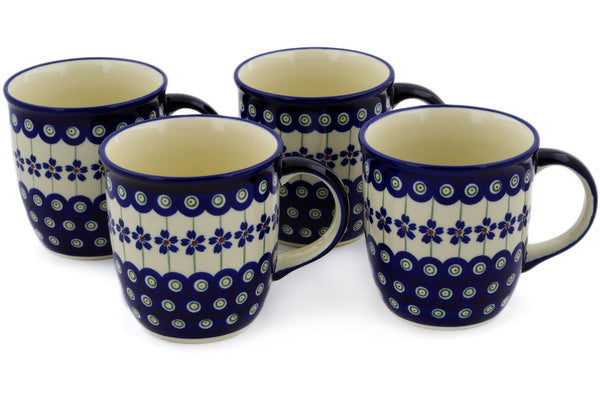 Set of Four 12oz Mugs Flowering Peacock Theme