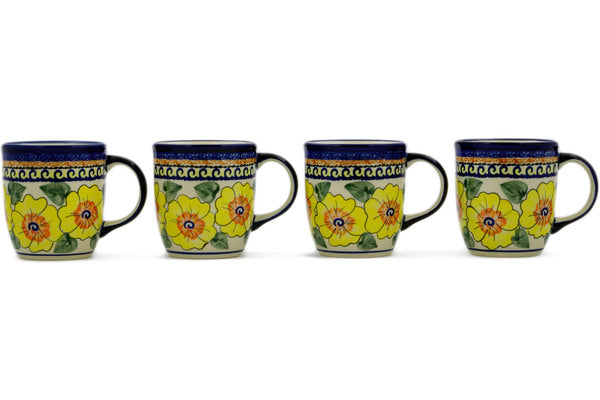 Polish Pottery Set of Four 12oz Mugs Lemon Poppies Theme UNIKAT