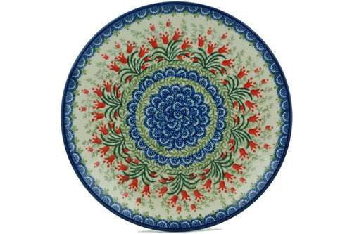 "Polish Pottery Plate 10"" Crimson Bells Theme"