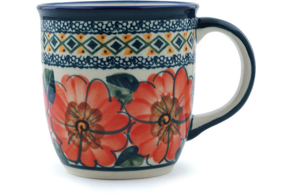 Mug 12 oz Peach Poppies Theme UNIKAT