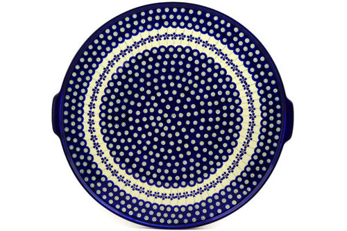 "Pizza Plate 17"" Flowering Peacock Theme"