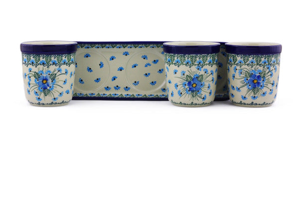 "Set of 3 Planters 12"" Forget Me Not Theme"