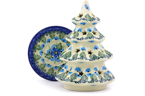 "Christmas Tree Candle Holder 6"" Forget Me Not Theme"