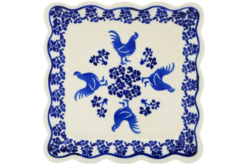 "Polish Pottery Scalloped Platter 6"" Rooster At Night Theme"