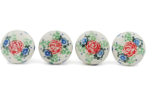 Set of 4 Drawer Pull Knobs 1-1/2 inch Flower Passion Theme