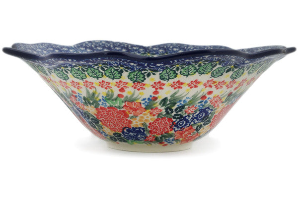 "Bowl 10"" Red Bouquet Theme UNIKAT"