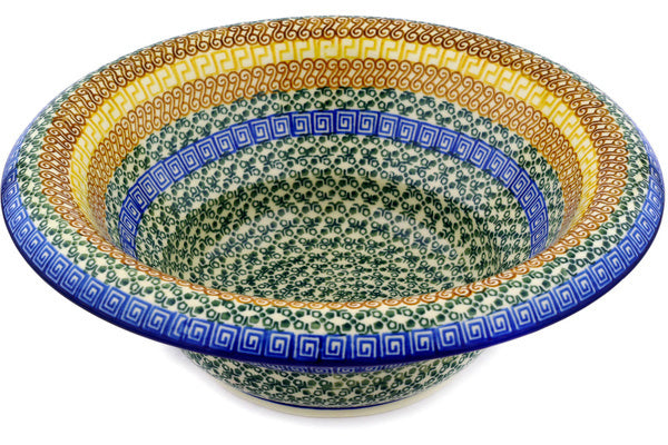 "Bowl with Rolled Lip 12"" Grecian Sea Theme"
