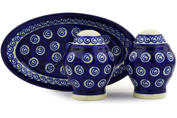 "Salt and Pepper Set 7"" Cobalt Swirl Theme"