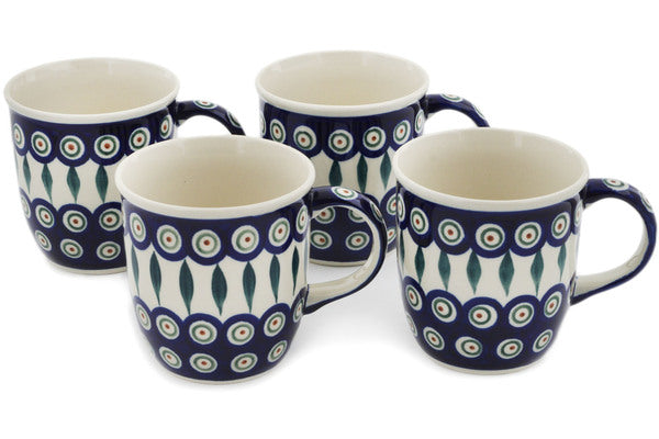 Set of Four 12oz Mugs Peacock Leaves Theme