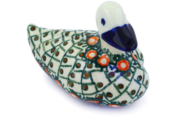 "Polish Pottery Duck Figurine 5"" Polish Basket Theme UNIKAT"