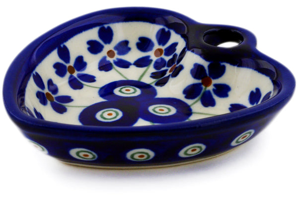 "Polish Pottery Heart Shaped Bowl 3"" Flowering Peacock Theme"