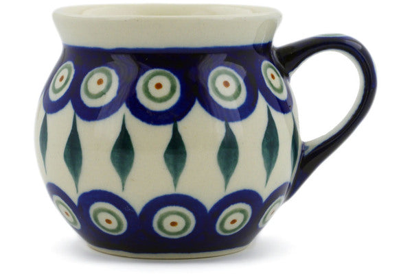 Polish Pottery Bubble Mug 7 oz Peacock Leaves Theme
