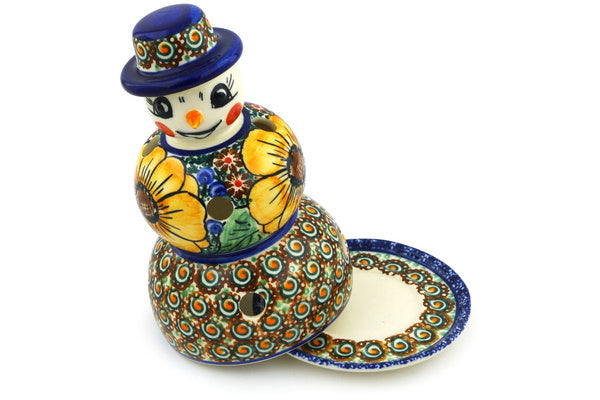 "Snowman Candle Holder 7"" Autumn Garden Theme UNIKAT"