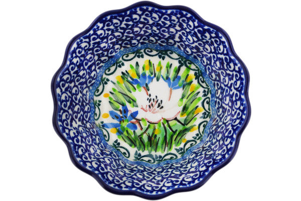 "Fluted Bowl 4"" Spring Morning Theme UNIKAT"