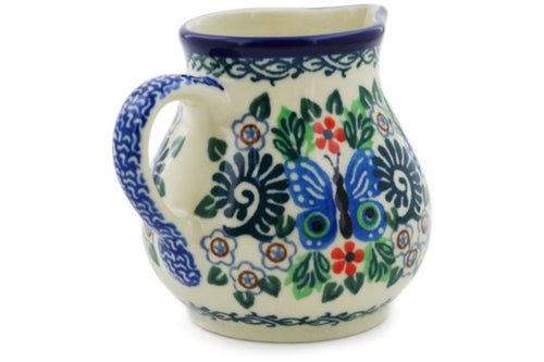 Polish Pottery Creamer 7 oz Blue Butterfly Brigade Theme UNIKAT