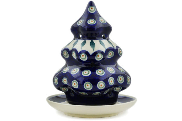 "Polish Pottery Christmas Tree Candle Holder 7"" Peacock Leaves Theme"