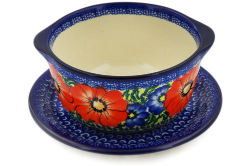 Polish Pottery Bouillon Cup with Saucer 16 oz Red Star Theme UNIKAT