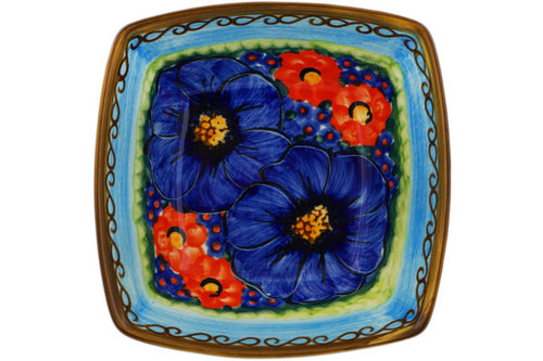 "Polish Pottery Square Bowl 5"" Field Of Butterflies Theme UNIKAT"