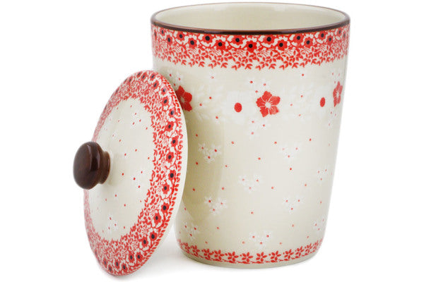 "Jar with Lid 7"" Poinsettia Lace Theme"