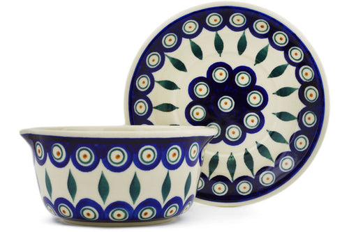 Polish Pottery Bouillon cup with saucer Peacock Theme