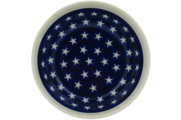 "Polish Pottery Bowl 7"" Stars And Stripes Foreve Theme"