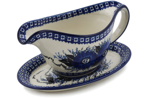 Polish Pottery Gravy Boat with Saucer 16 oz Mardigras Mask Theme UNIKAT