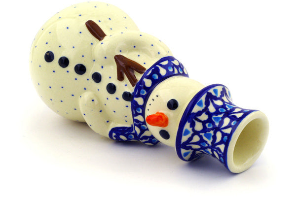 "Polish Pottery Snowman Candle Holder 6"" Blue Diamond Theme"