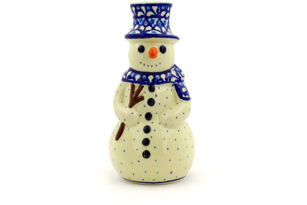 "Snowman Candle Holder 6"" Blue Diamond Theme"