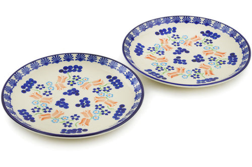 Polish Pottery Set of 2 dessert plates Tulip Berries Theme