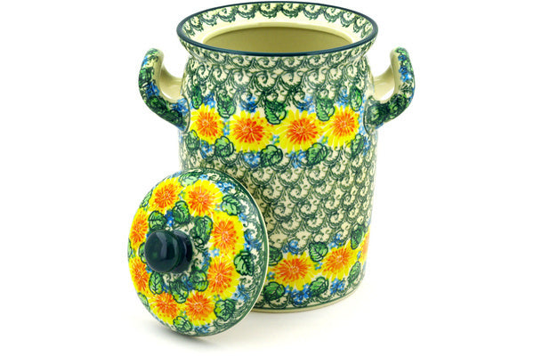 "Jar with Lid and Handles 9"" Marigold Chain Theme UNIKAT"