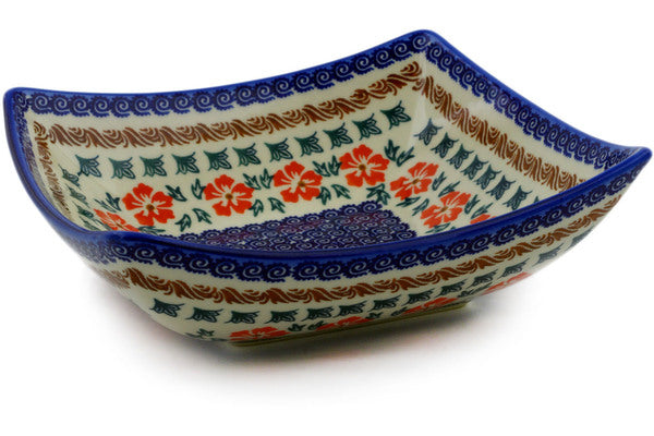 "Square Bowl 8"" Red Cornflower Theme"