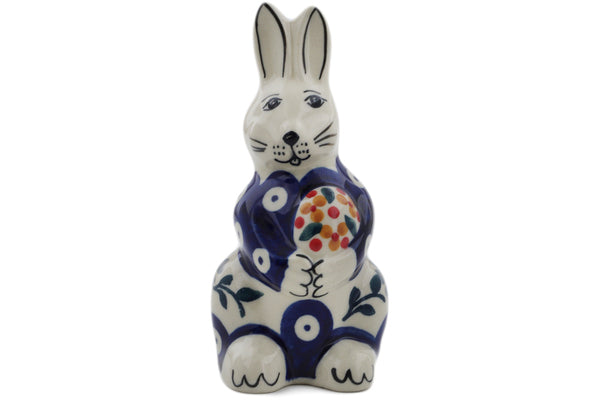 "Bunny Figurine 5"" Peacock Forget-me-not Theme"