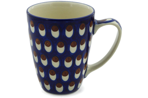 Polish Pottery Mug 12 oz American Peacock Theme
