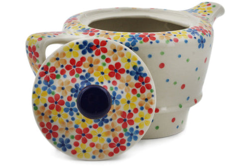 Polish Pottery Tea or Coffee Pot 12 oz Flower Meadow In The Garden Theme UNIKAT