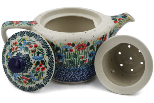 Polish Pottery Tea or Coffee Pot 17 oz Meadow At Sunset Theme UNIKAT
